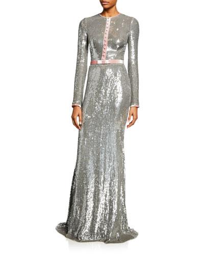 Sequin Long-Sleeve Tuxedo Gown 95ba58e009772