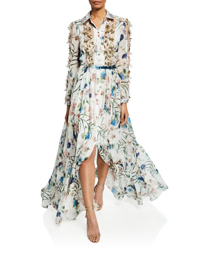 Ruffled Floral Print Belted Gown