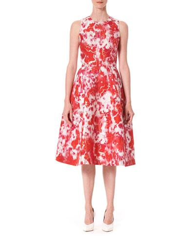 Sleeveless Patterned A-Line Dress