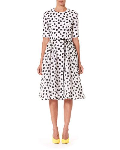 Polka-Dot Fit & Flare Midi Dress