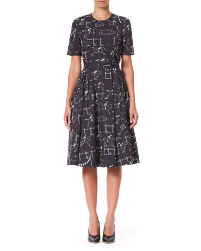 Short-Sleeve Equestrian-Print Poplin Dress