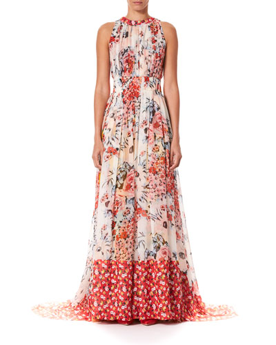 Floral-Print Gathered Silk Floor  Gown