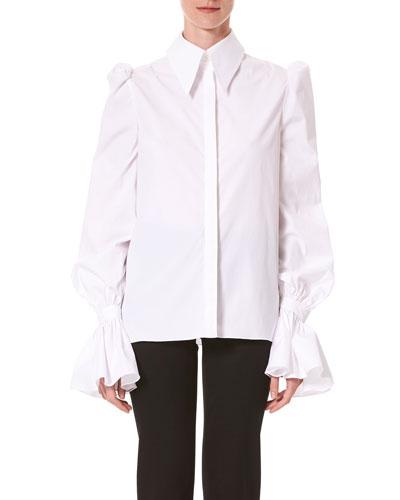 Puff Sleeve Ruffled Button-Front Shirt
