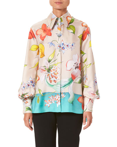 Long-Sleeve Floral-Print Silk Button-Front Shirt