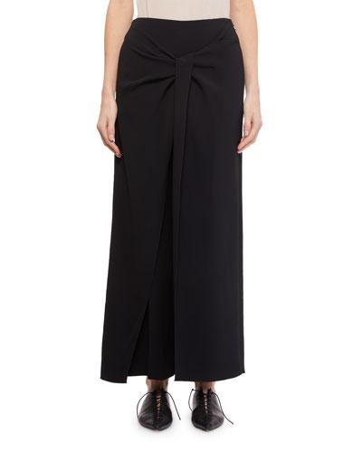 Wide-Leg Twist-Front Crepe Pants