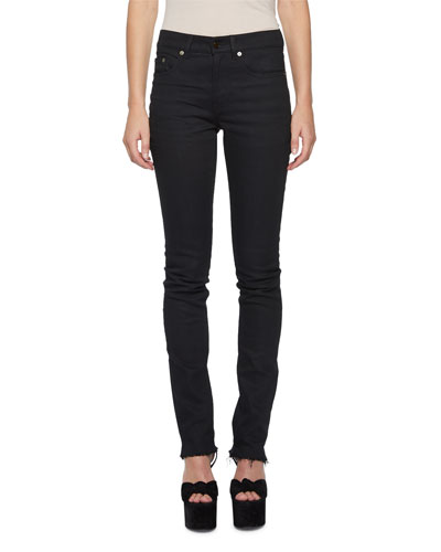 Raw-Edge Slash-Back Skinny Jeans