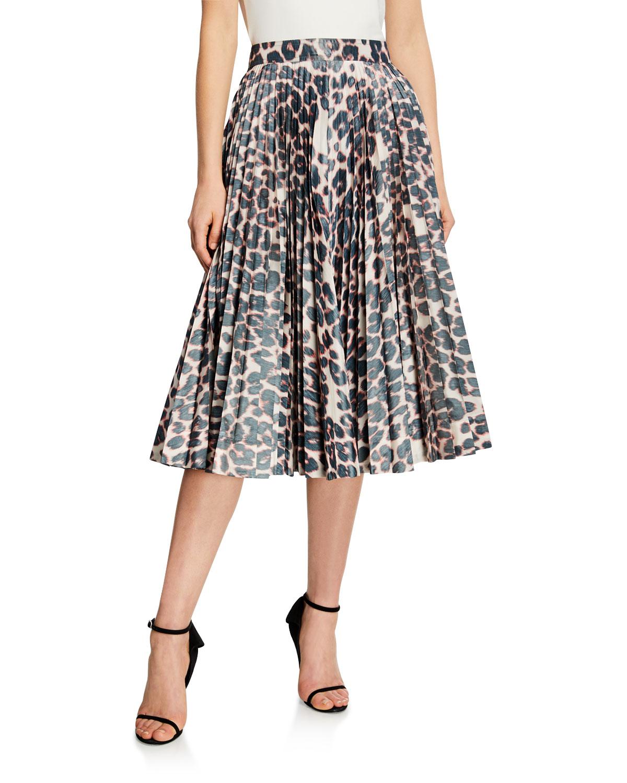 Calvin Klein 205w39nyc Skirts ANIMAL PRINT PLEATED CIRCLE SKIRT