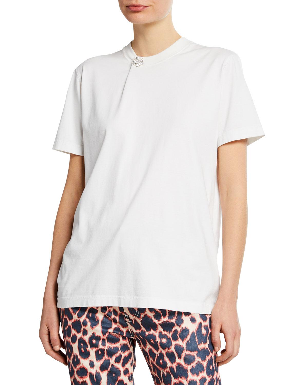 Calvin Klein 205w39nyc T-shirts SHORT-SLEEVE CRYSTAL BUTTON T-SHIRT