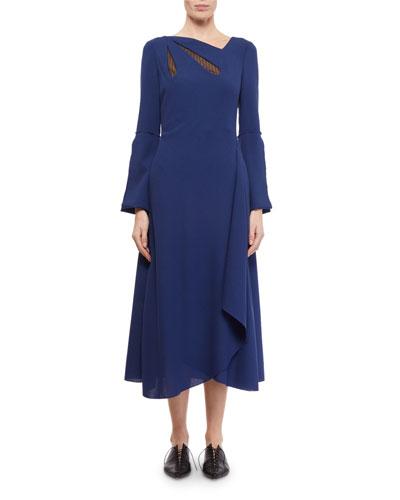 Oreti Long-Sleeve Netted Keyhole Dress