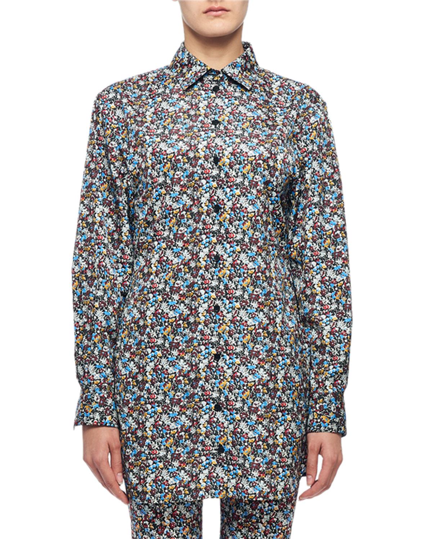 Victoria Beckham T-shirts MINI FLORAL-PRINT BUTTON-FRONT BOYFRIEND SHIRT