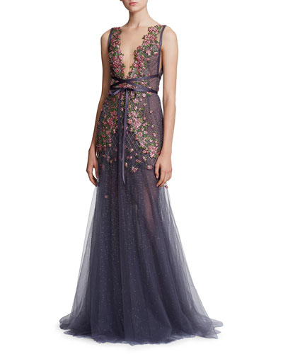 Floral Embroidered Tie-Waist Tulle Deep V-Neck Gown