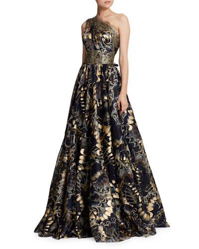 Foiled One-Shoulder Ball Gown