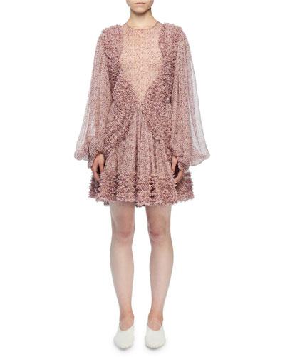 Long-Sleeve Ditzy Floral Crinkle Silk Dress