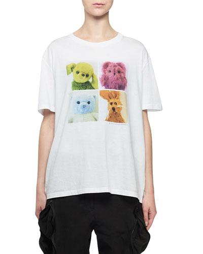Bad Toys 4-Square Stuffed Animal Crewneck Cotton T-Shirt