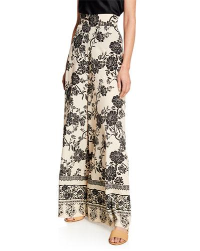 Tapestry Foulard Wide-Leg Pants