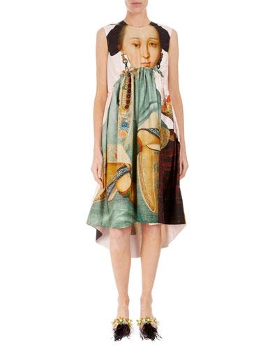 Sleeveless Round-Neck Empire Waist Dress