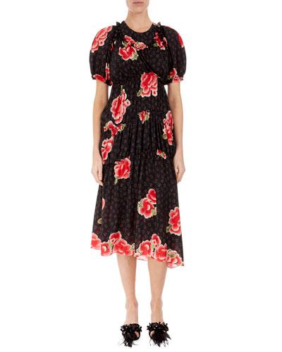 Floral Puff-Sleeve A-Line Dress