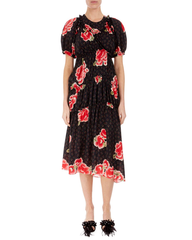 Simone Rocha Dresses FLORAL PUFF-SLEEVE A-LINE DRESS