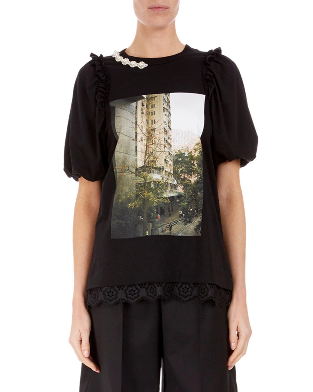 Simone Rocha T-shirts SHORT-SLEEVE PEARL-NECK T-SHIRT