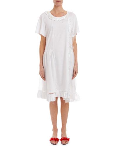 Short-Sleeve Tulle-Overlay T-Shirt Dress