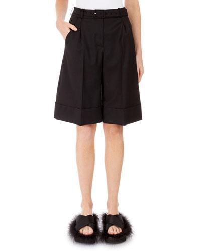 Full-Leg Pleated Shorts