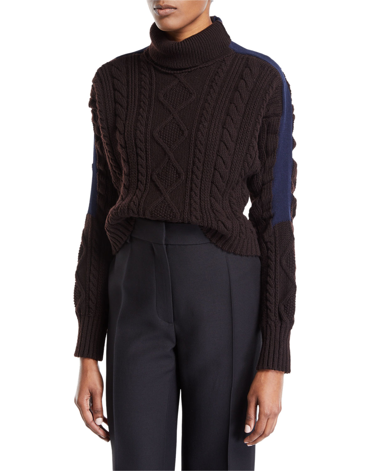 ATLEIN Turtleneck Stripe-Sleeve Cable-Knit Pullover Wool Sweater in Brown