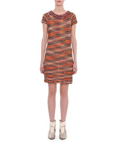 Sleeveless A-Line Metallic Space-Dye Short Dress