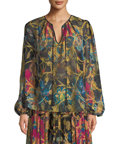 Tie-Neck Long-Sleeve Paisley-Print Silk Peasant Blouse 07c86a778