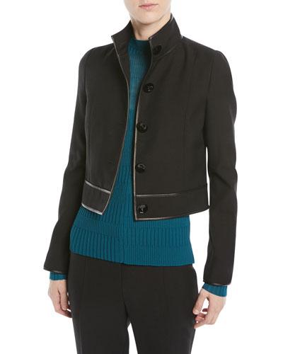 ae42e9b3bef Virgin Wool Button-Front Cropped Jacket w/ Lambskin Trim