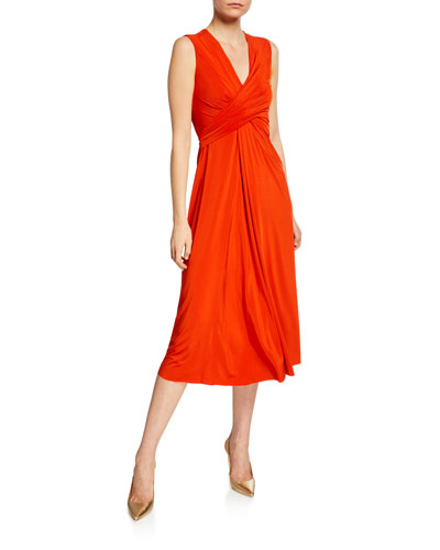 V-Neck Draped Fluid Jersey Dress