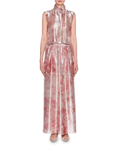 Mock Neck Printed Gown