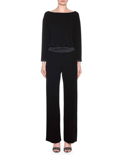 Long-Sleeve Satin-Waist Straight Leg Jumpsuit