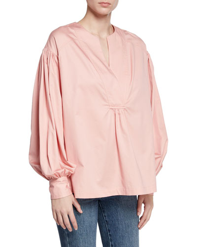 Overlap V-Neck Cotton Blouse