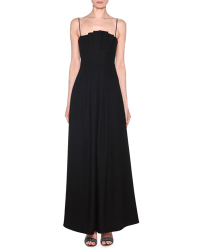 Strappy Velvet Asymmetric-Neck Gown with Pockets