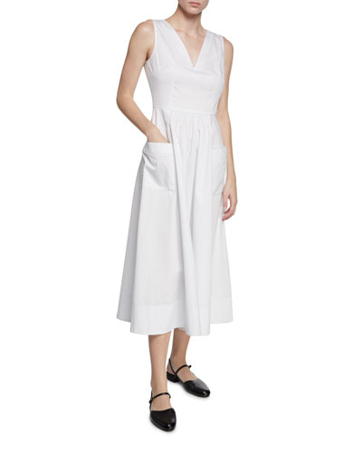 Sleeveless V-Neck Cotton Dress w/ Pockets