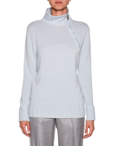 Asymmetric-Zip Ribbed-Trim Sweater