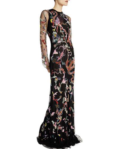 Fantasy-Jungle Embroidered Illusion Gown