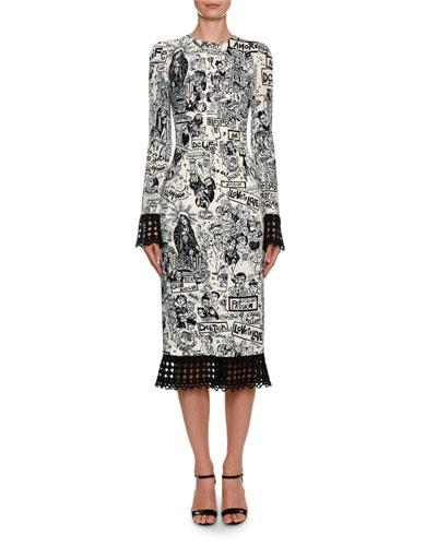 Long-Sleeve Graffiti Print Cady Dress