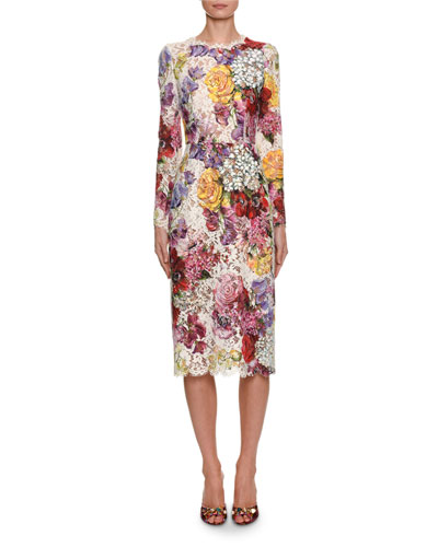 00a09a10aa Long-Sleeve Floral Print Lace Midi Dress Quick Look. Dolce   Gabbana