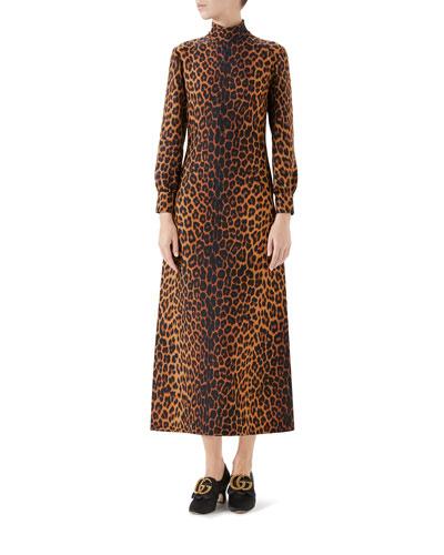 Leopard-Print Cady Midi Dress