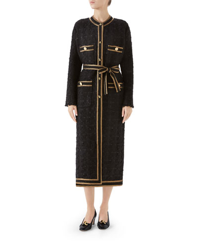 Tweed Ribbon-Embroidered Coat