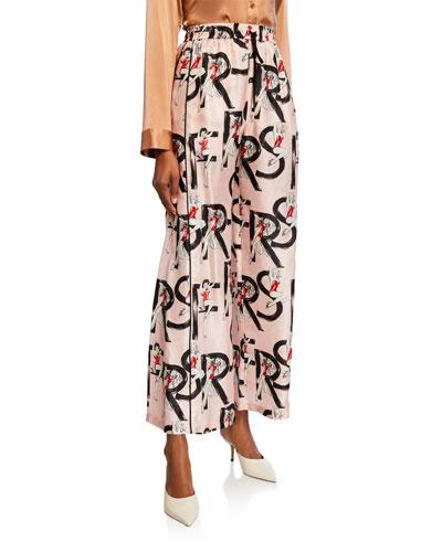 Pin-Up Girl Print Wide-Leg Satin Pants
