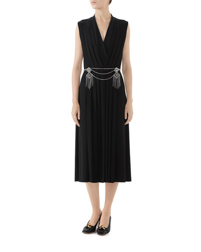 Pleated Technical Jersey Dress