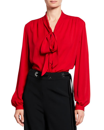 Silk Satin Georgette Tie-Neck Blouse