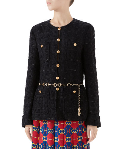 Fitted Tweed Jacket with Chain Belt