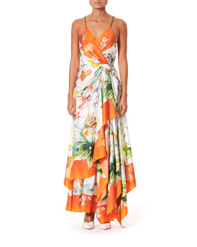 Sleeveless Floral Print Wrap Scarf Dress