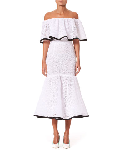 Off-the-Shoulder Ruffled Lace Dress