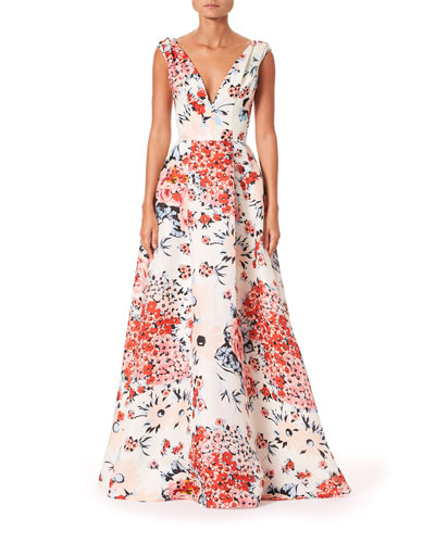 Sleeveless V-Neck A-Line Gown