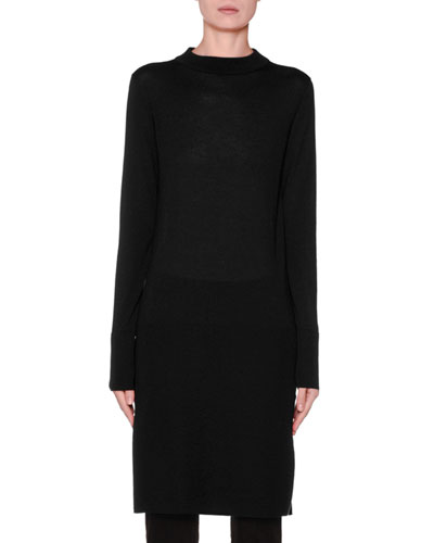 Long-Sleeve Banded High-Low Tunic, Black