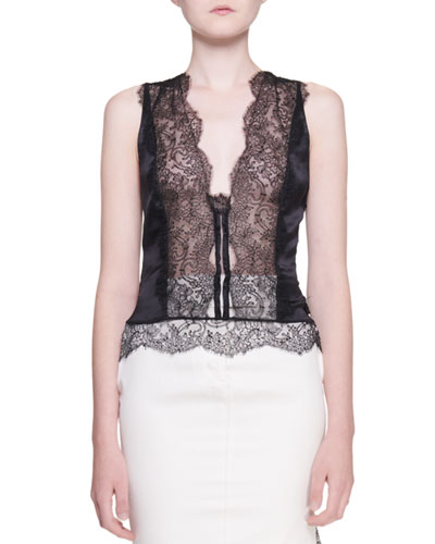 Stretch Charmeuse Lace-Front Camisole